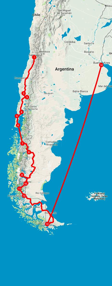 Mappa del Viaggio in Patagonia e Terra del Fuoco